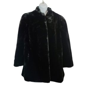 VTG Beekman Place New York Faux Fur Black Coat Size XL